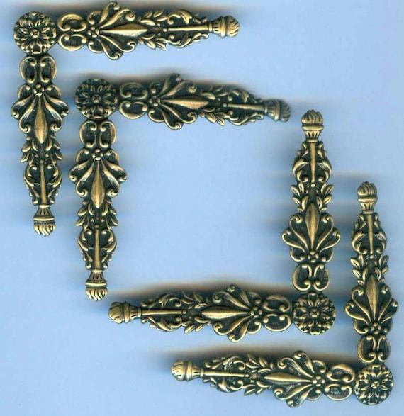 Border Corner Stampings, Brass Ox, Dark Brass, Victorian, Item09046