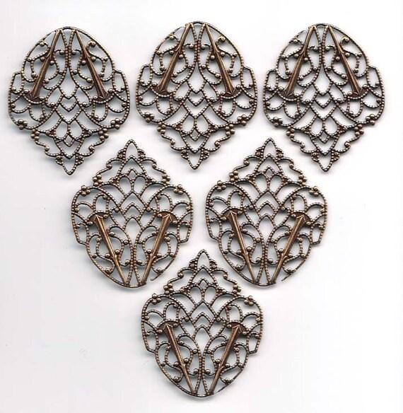 Flattened Leaf Shaped Filigree Stampings, Brass Ox, Dark Brass, Item09171