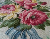 Vintage bark cloth romantic pink cabbage roses