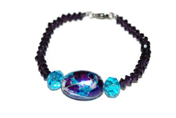 Sky Blue and Purple Beaded OOAK Bracelet- Etsy treasury