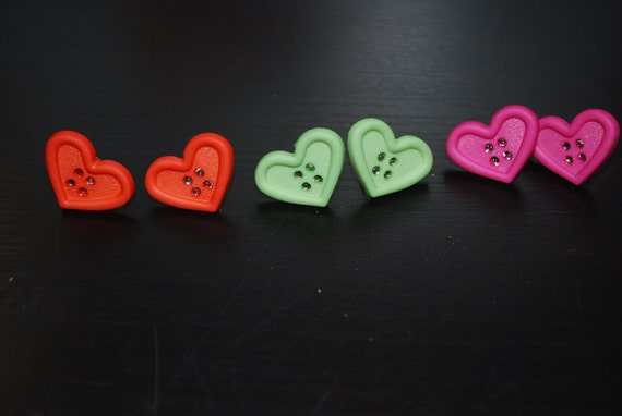 Red - Orange Heart Shaped Button Earrings