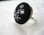 Black with White Flower Fabric Covered Ring