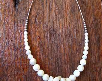Vintage Surfer Girl - Unique, Handmade, White Shell Choker Necklace, mother of pearl