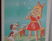 Rare Vintage craft art button display illustration with little girl blowing bubbles and her puppy beside her