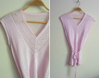 intricate pastel pink cutout ZIGZAG design belted tunic sweater