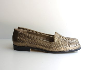 gold metallic WOVEN loafers flats slippers 1980s 6 6.5