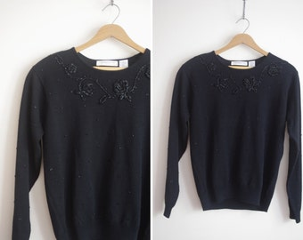 black BEADED rose flower holiday chic sweater embellished small S M