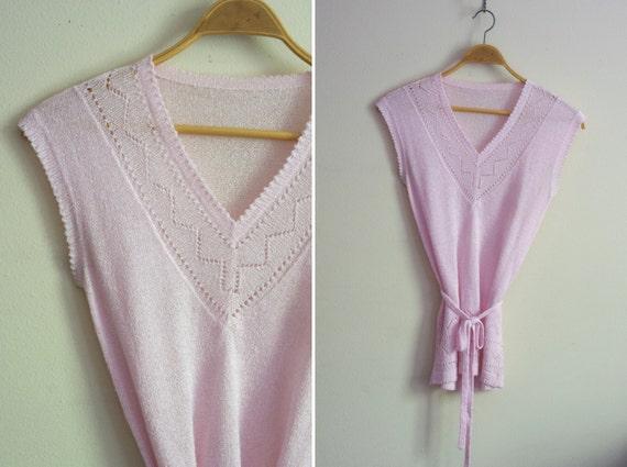 intricate pastel pink cutout ZIGZAG design belted tunic sweater