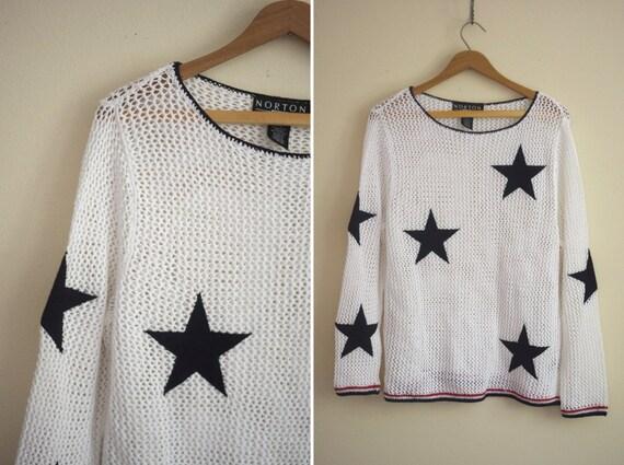 STARS flag america open knit sweater fishnet mesh top