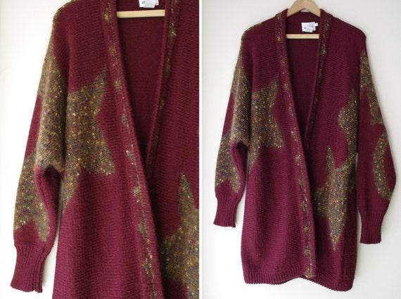 oversized maroon BATWING graphic intarsia star wrap granny wool cardigan sweater jacket coat S/M
