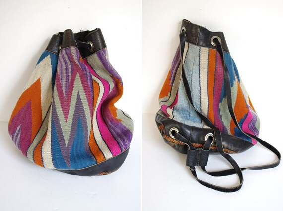 AWESOME native american leather tribal tapestry blanket backpack purse drawstring bucket bag 1970s