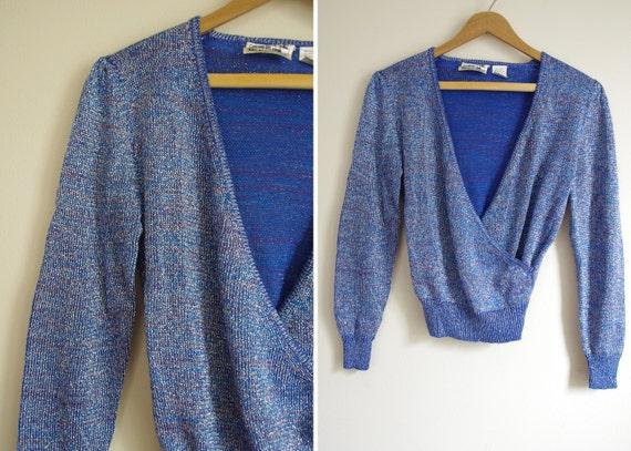 METALLIC thread blue silver  v-neck wrap sweater 80s