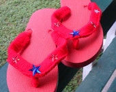 Clearance/Flip Flops / Red / sandals / stars / 4th of July / Lady's Size L