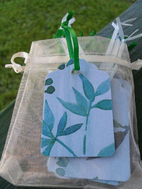 Gift tag /hang tag /price tag /Blue with green leaves/ glitter /28 count