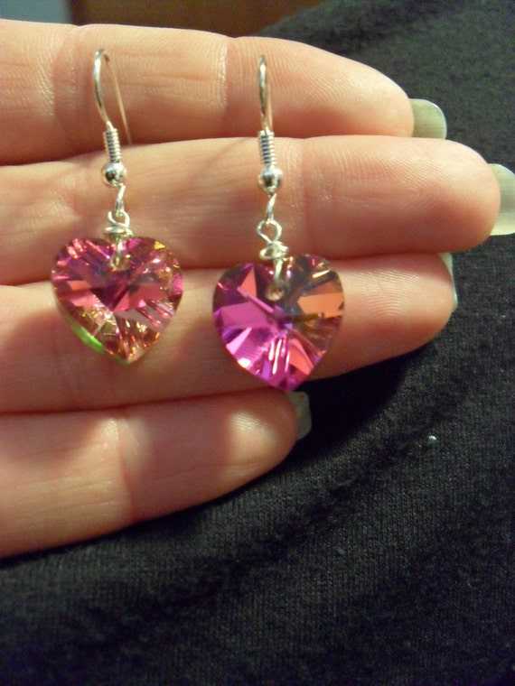 Silver and Pink Crystal Hearts earrings
