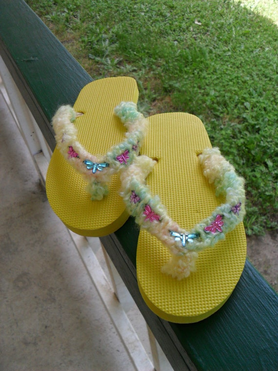 Flip Flops / Yellow / sandals / Dragonfly / OOAK /  Lady's Size S