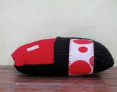 Funky RED pillow softie. Original, collectible and fun, and answers to JEREMY TRUSTYAGUT.