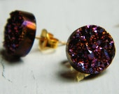 Plum Rose Titanium Drusy / Druzy Quartz Stud Earrings with 14K gold filled posts