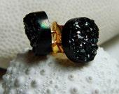 Midnight Black Titanium Drusy / Druzy Quartz Studs on 14K Gold Filled posts Earrings