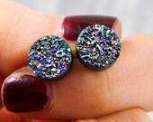Peacock Titanium Drusy / Druzy Quartz Stud Earrings with Serling Silver posts