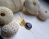 Beautiful Natural Amethyst and 24K gold Vermeil Lotus Charm Necklace