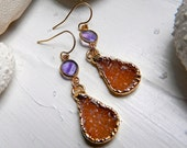 24K Gold Vermeil Bezel set Amethyst and Vibrant Orange Drusy / Druzy Quartz Earrings
