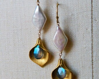 16K Gold plated Calla lilly, Labradorite, and Fresh water pearl Earrings