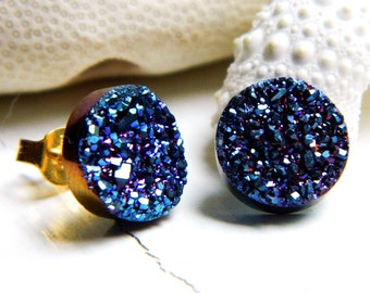 Royal Blue Titanium Drusy / Druzy Quartz Studs on 14K Gold Filled posts Earrings