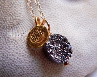 Dazzling Silver Titanium coated Drusy / Druzy quartz and 24K Gold Vermeil Lotus Charm Necklace