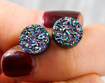 Peacock Titanium Drusy / Druzy Quartz Stud Earrings with Serling Silver posts