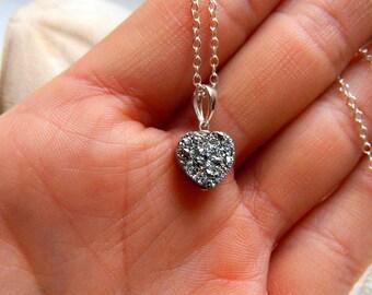 Dazzling Silver Titanium coated Valentines day Heart Drusy / Druzy quartz Charm Necklace