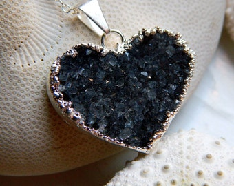 Amazing Navey / Grey Silver Dipped Valentines day Heart Drusy / Druzy Quartz Necklace