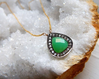 White Topaz Pavé framed Chrysoprase pendant set in oxidized sterling silver on14K Gold Filled chain Necklace