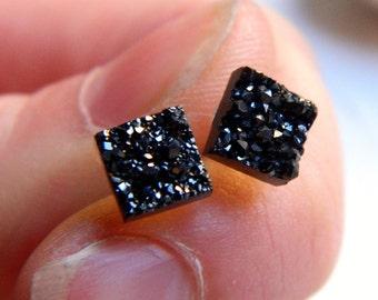 Mini Midnight Black Square Titanium Drusy / Druzy Quartz Studs on Sterling Silver posts Earrings