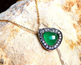 Oxidized Sterling Silver Pave Set White Topaz and Green Onyx Necklace, 14K Gold Filled chain Necklace