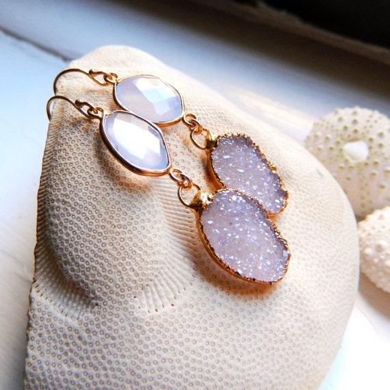 24K Gold Vermeil Bezel set Natural Blue Chalcedony, and soft Pinky-brown Drusy / Druzy Quartz Earrings