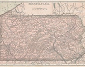Ships Free 1915 Pennsylvania/Maryland & Delaware Map (Free Shipping to US Addresses Only)