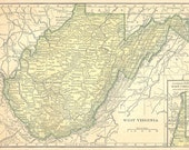 Ships Free 1908 Pre WWI West Virginia or North Carolina Map (Free Shipping to US Addresses Only)