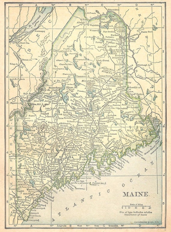 Ships Free 1909 Pre World War I Map Maine/Vermont (Free Shipping to US only)