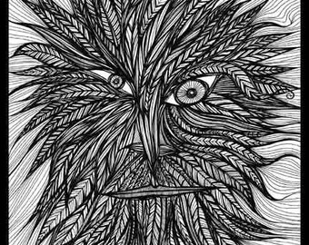 Pen Ink black white drawing spirit Wicca forest green The Greenman