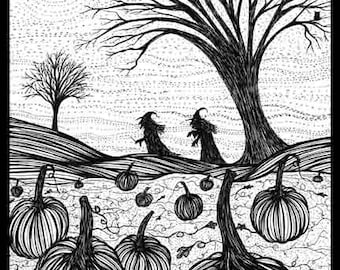 Pen Ink black white drawing witches pumpkin patch Moonlight Blessings