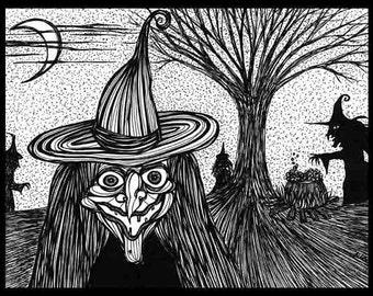 Pen Ink black white drawing witch cauldron Halloween Brew Ha-Ha