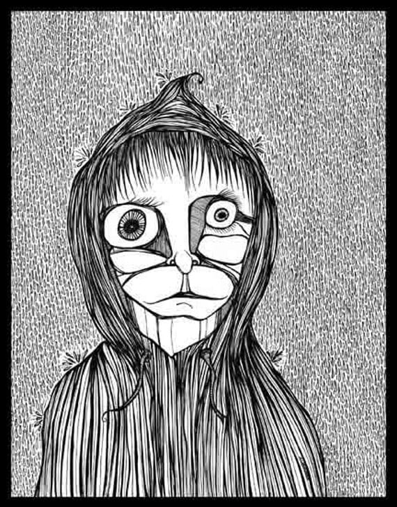 Pen Ink black white drawing boy hoodie rain sadness Buckets