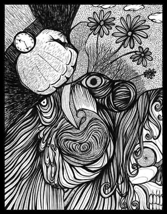 Pen Ink black white drawing punch hurt pain F....kin POW