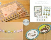 PRINTABLE PARTY PACK: Printable Monkey Baby Shower (Boy or Girl Color Theme Polka-Dotted)
