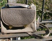 Adorable Grey Faux Ostrich Satchel