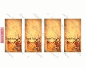 Mini Fall Autumn Colors Thank You Cards. Digital Download No.58  2x2 Print and Cut Thank You Cards Pumpkins and Fall Leaves.