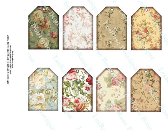 Items similar to Shabby Cottage Chic Floral Gift Tags Hang Tags. 8 ...