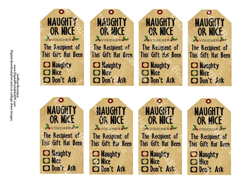 Items similar to Christmas Gift Tags. Naughty or Nice Checkboxes. Cute ...
