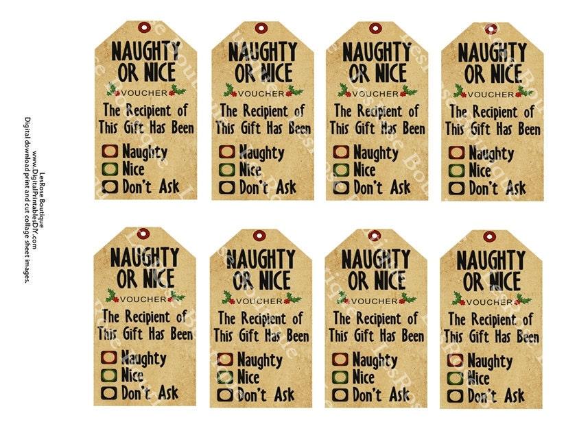 Nice Tag: Items Similar To Christmas Gift Tags. Naughty Or Nice